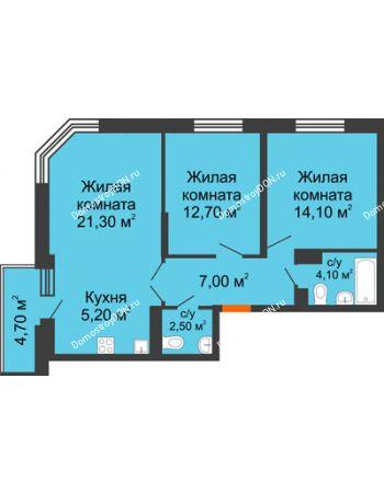 3 комнатная квартира 69,3 м² в ЖК Династия, дом Литер 2