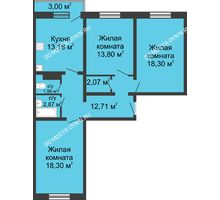 3 комнатная квартира 84,09 м² в ЖК Корабли, дом № 6 - планировка