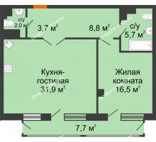 1 комнатная квартира 71,09 м² в ЖК Георгиевский, дом 6 - планировка