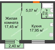 1 комнатная квартира 45,24 м² в ЖК Лайм, дом № 1, Вторая очередь - планировка