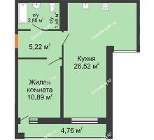1 комнатная квартира 47,18 м² в ЖК Рекорд, дом 2 этап - планировка