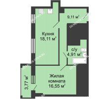 1 комнатная квартира 50,57 м², ЖК Гелиос - планировка