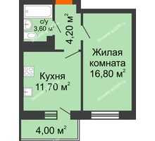 1 комнатная квартира 38,2 м² в ЖК Я, дом  Литер 2 - планировка