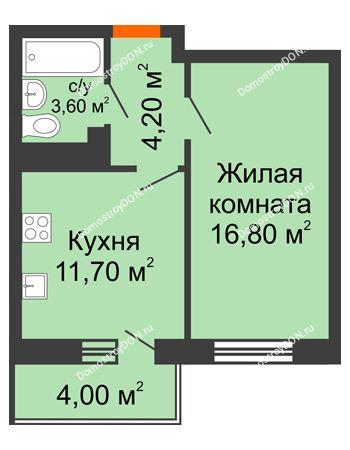 1 комнатная квартира 38,2 м² в ЖК Я, дом  Литер 2