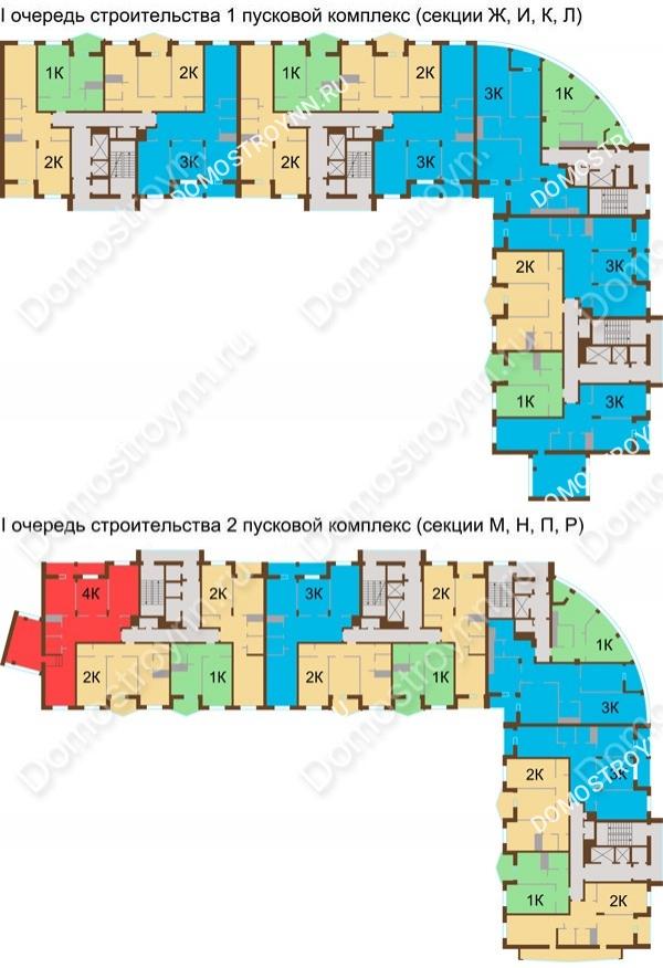 Планировка 8 этажа в доме № 89, корп. 1, 2 в ЖК Монолит