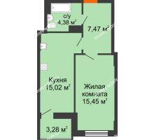 1 комнатная квартира 43,96 м² в ЖК Аврора, дом № 2 - планировка