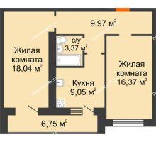 2 комнатная квартира 63,55 м² в ЖК Новая Самара, дом № 43 - планировка
