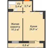 2 комнатная квартира 53,9 м² в ЖК на Калинина, дом № 2.1 - планировка