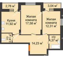 2 комнатная квартира 66,13 м², НЕБО на Ленинском, 215В - планировка