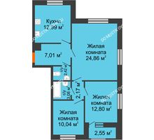 3 комнатная квартира 75,55 м² - Дом на Чаадаева