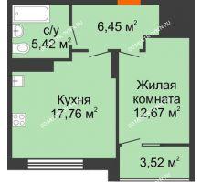 1 комнатная квартира 44,06 м² в ЖК Маленькая страна, дом № 4 - планировка