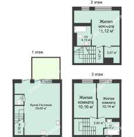 4 комнатный таунхаус 91 м² в КП Баден-Баден, дом № 26 (от 73 до 105 м2) - планировка
