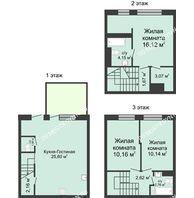 4 комнатный таунхаус 91 м² в КП Баден-Баден, дом № 31 (от 73 до 105 м2) - планировка