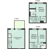 4 комнатная квартира 91 м² в КП Баден-Баден, дом № 44 (от 73 до 105 м2) - планировка