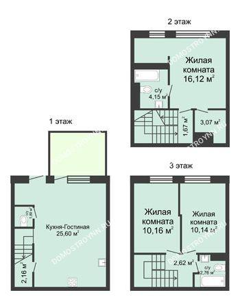 4 комнатная квартира 91 м² в КП Баден-Баден, дом № 26 (от 73 до 105 м2)