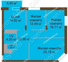 3 комнатная квартира 100,61 м² - ЖК Олимп