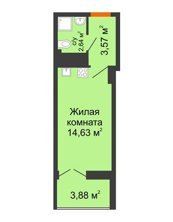 Студия 22,78 м² в ЖК Аврора, дом № 3