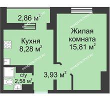 1 комнатная квартира 32,03 м² в ЖК Корабли, дом № 1