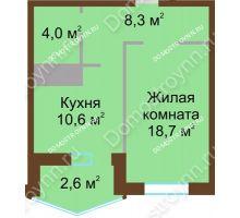 1 комнатная квартира 44,2 м² в ЖК Монолит, дом № 89, корп. 1, 2 - планировка