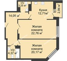 2 комнатная квартира 77,35 м² в ЖК Высоково, дом № 3 - планировка