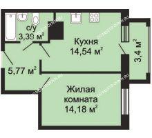 1 комнатная квартира 40,71 м², ЖК Гелиос - планировка