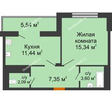 1 комнатная квартира 42,59 м² в Мкр Улитка, дом № 3Г,Д - планировка
