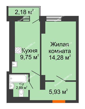 1 комнатная квартира 32,74 м² в ЖК Мечников, дом ул. Мечникова, 37