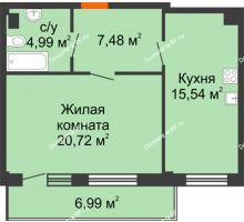 1 комнатная квартира 50,83 м² в Жилой район Берендей, дом № 14 - планировка