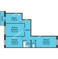 3 комнатная квартира 80,53 м² в ЖК Бограда, дом № 2 - планировка