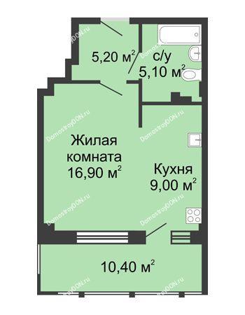 1 комнатная квартира 46,6 м² в ЖК Мега, дом № 2