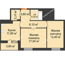 2 комнатная квартира 64 м² в ЖК Корица, дом № 1 - планировка