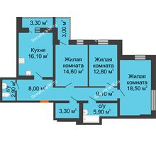 3 комнатная квартира 94,4 м² в ЖК Шестое чувство, дом 2 очередь 2 позиция - планировка