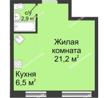 Студия 30,6 м² в ЖК Цветы, дом № 10 - планировка