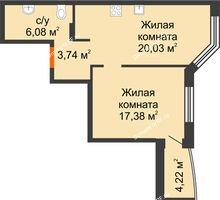 2 комнатная квартира 49,3 м² в ЖК Золотое сечение, дом №1, 2 этап - планировка
