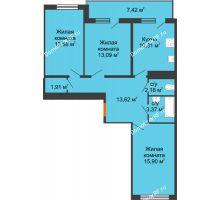3 комнатная квартира 78,17 м² в ЖК Университетский парк, дом 2 очередь - планировка