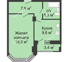 1 комнатная квартира 43,5 м² в ЖК Цветы, дом № 18 - планировка