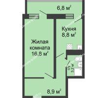 1 комнатная квартира 41,6 м² в ЖК Звезда Столицы, дом Литер 2 - планировка