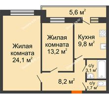 2 комнатная квартира 62,9 м² в ЖК Акварель, дом №5