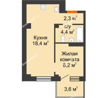 2 комнатная квартира 34,4 м² в ЖК Серебряный, дом Квартал 1, дом №3 - планировка