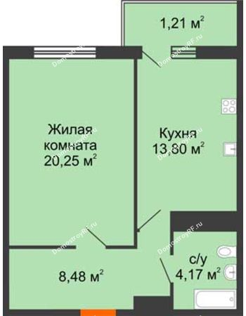 1 комнатная квартира 48,72 м² в ЖК Фамилия, дом Литер 1