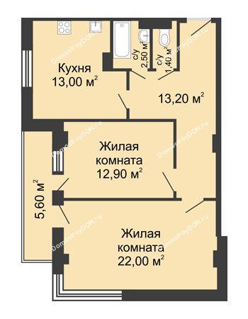 2 комнатная квартира 67,8 м² - ЖК Дом на Береговой