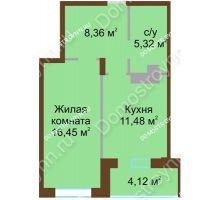 1 комнатная квартира 45,73 м² в ЖК Солнечный город, дом на участке № 208 - планировка