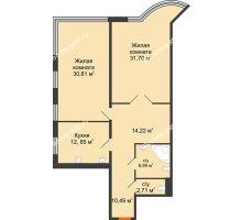 2 комнатная квартира 109,77 м², Жилой дом на ул. Платонова, 9,11 - планировка