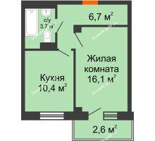 1 комнатная квартира 38,7 м², ЖД Подзолкова - планировка