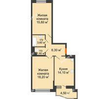 2 комнатная квартира 62,1 м² в ЖК Перспектива, дом Литер 3.5 - планировка
