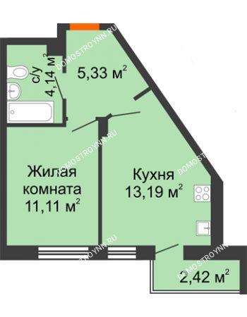 1 комнатная квартира 36,19 м² - ЖК Пушкин