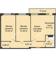 2 комнатная квартира 75,09 м², ЖК Студенческий - планировка