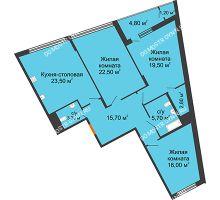 3 комнатная квартира 114,9 м² в ЖК Маршал Град, дом № 3 - планировка
