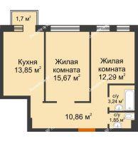 2 комнатная квартира 58,27 м² в ЖК Новоостровский, дом № 2 корпус 2 - планировка