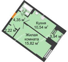1 комнатная квартира 36,41 м² в ЖК Мандарин, дом 2 позиция 9,10 секция - планировка